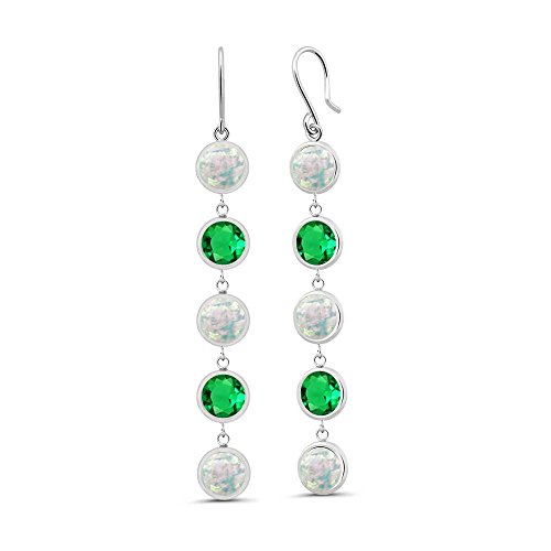 2.44 Ct Round Cabochon White Simulated Opal Green Simulated Emerald 925 Sterling Silver (Cabochon Emerald Earrings)