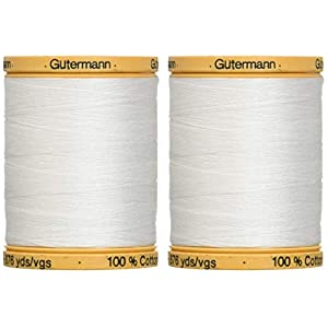 2-Pack – Gutermann Natural Cotton Thread Solids 876 Yards Each – White (800C 5709)