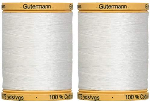 2-Pack - Gutermann Natural Cotton Thread Solids 876 Yards Each - White (800C 5709) from Gutermann
