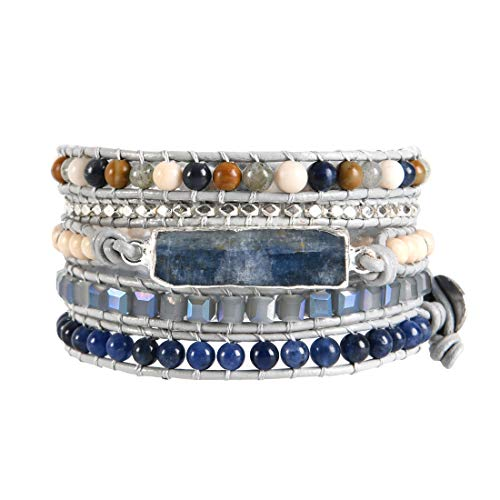YGLINE Handmade Natural Blue Topaz Sodalite & Howlite Gemstone Leather Wrap Bracelet