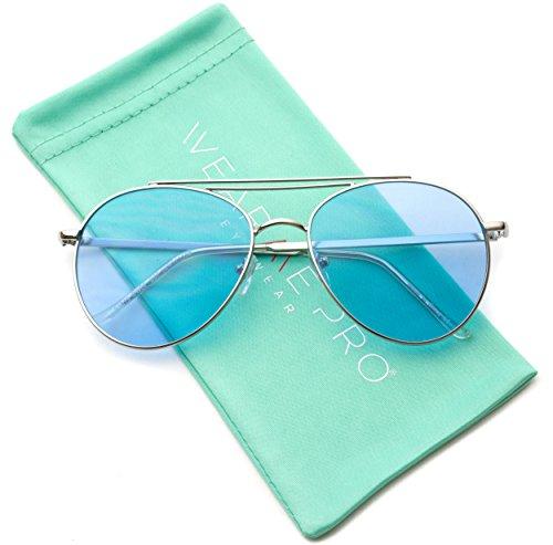 WearMe Pro - Round Tinted Frame Retro Aviator Sunglasses For - Glasses Hipster Aviator