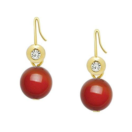 Falari 10mm Round Natural Stone Dangling Earring Red Agate E0382-RA ()
