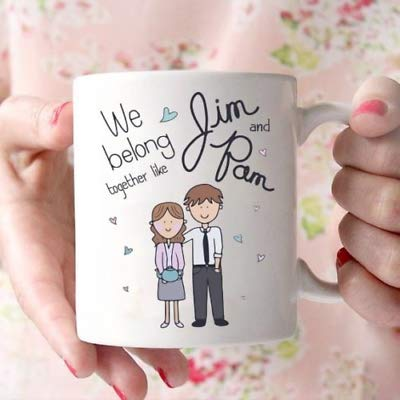 The Office We Belong Together Like Jim and Pam Coffee Mug White 11oz Ceramic - Coffee Mug Gift Coffee Mug 11OZ Coffee Mug -