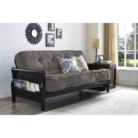 """Wood Arm Futon 8"""" Coil Mattress, Gray Linen, Metal Futon with Cushions, Convertible to Full Size Sleeper, Made from Metal, Living Room, Bundle with Our Expert Guide with Tips for Home Arrangement from AB-Land"""