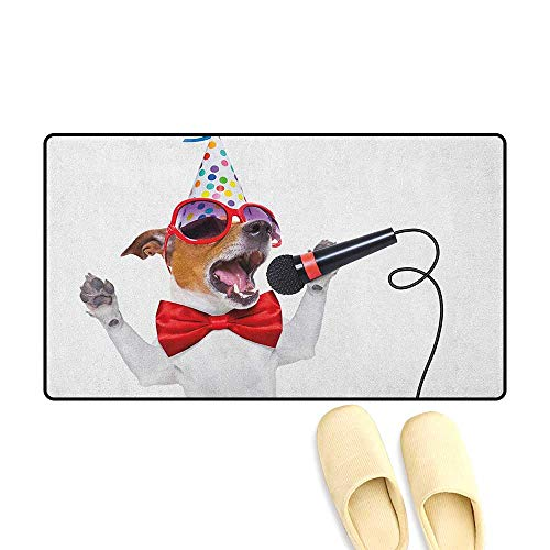 zojihouse Popstar Party Bath Mat Non Slip Jack Russel Dog with Sunglasses Party Hat and Bowtie Singing Birthday Song Size:24
