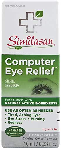Similasan Computer Eye Relief Eye Drops 0.33 Fluid Ounce, for Temporary Relief from Tired Eyes, Aching Eyes, Eye Strain, Burning or Redness from Computer Use, with Natural Active Ingredients