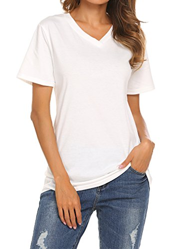 Tops and Tees for Women Basics Solid Short Sleeve V Neck Tshirts(02 White, S)