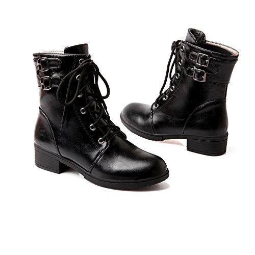 Imitated Heels Black Ladies AdeeSu Kitten Lace Boots Leather Heels Up Square 71OqwAB