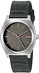 Nixon Men's 'Time Teller' Quartz Stainless Steel and Leather Watch, Color:Grey (Model: A0452145-00)