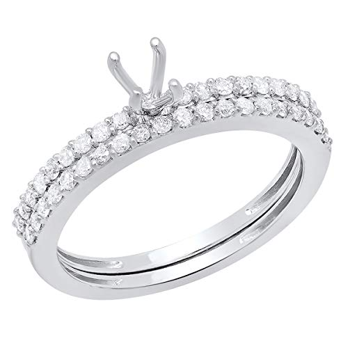 Dazzlingrock Collection 0.50 Carat (Ctw) 14k Round Diamond Ladies Bridal Semi Mount Engagement Ring with Matching Wedding Band (No Center Stone), White Gold, Size 6