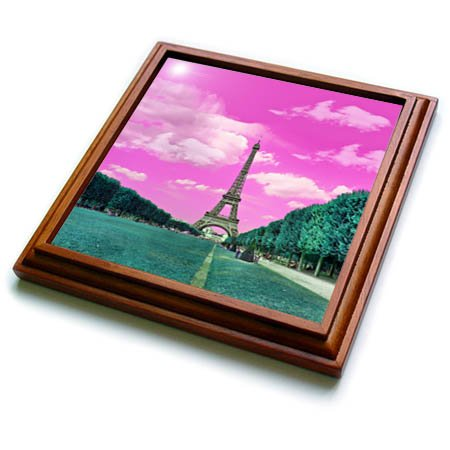 3dRose trv_276315_1 Surreal Digital Art of Eiffel Tower in Paris Trivet with Tile, 8 by 8''