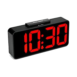 DreamSky Auto Time Set Alarm Clock with USB Port for Charging, Snooze, Dimmer, Extra Large Impaired Vision Digital Red LED Bedside Desk Clock, Auto DST.
