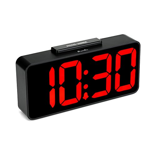 DreamSky Auto Time Set Alarm Clock with USB Port for Charging, Snooze, Dimmer, Extra Large Impaired Vision Digital Red LED Bedside Desk Clock, Auto DST. ()