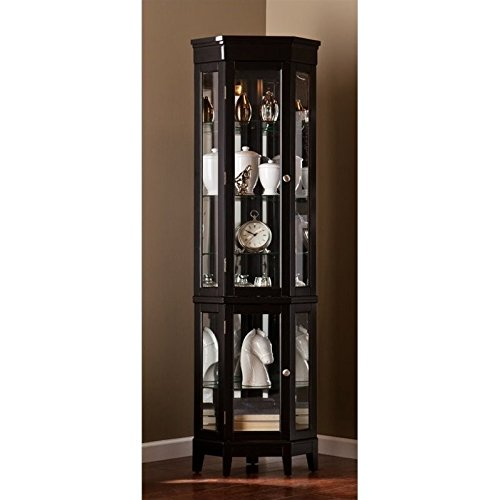 Southern Enterprises Essex Corner Curio Cabinet, Black Finish - Curio Display Shelf