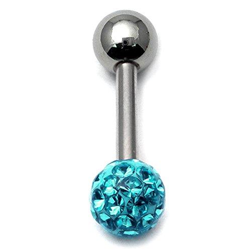 Bon Glitzy piercings de langue avec bille Turquoise/simple/Piercing barre en acier chirurgical 1,6 mm-Longueur :  14 mm-Boules de 5 mm