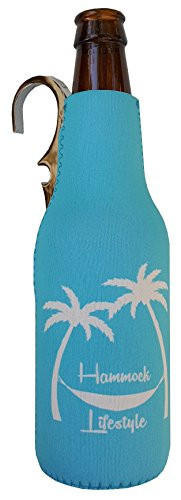 CoozieClaw Unique Bottle Cooler with Built in Hook and Bottle Opener Fun Gift #1 Hanging Bottle Holder Easily Hang Your Cold Beer Bottle Sleeve Anywhere (1, Turquoise With Logo) ()