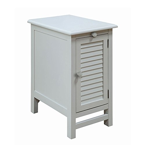 Cape May Cottage - Crestview Collection Cape May Cottage White Shutter Door and 1 Pull Shelf Chairside Table