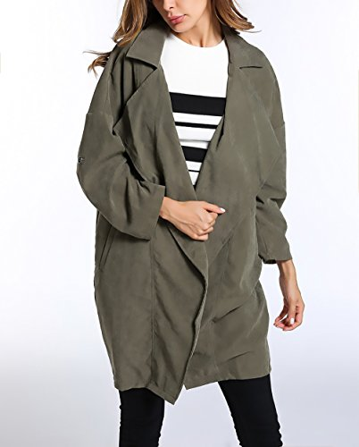 Trench Verde Women Casuale Larga Donna Giacche Elegante Outdoor Battercake Invernale Manica Cappotto Cappotti Casual Outerwear Lunga Autunno Revers Cardigan Lungo Giovane Donne Puro Vintage Colore Moda 45n77
