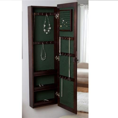 Svitlife Wall Mounted Locking Jewelry Armoire Cabinet in Espresso Wood Finish Jewelry Armoire Cabinet Organizer Storage Mirrored Box Stand Christmas W