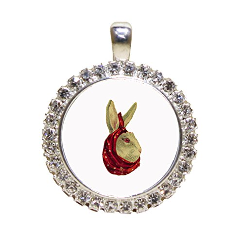 Rabbit With Headscarf Easter Vintage Look Rhinestone Pendant Antique Style Frame Gold Frame