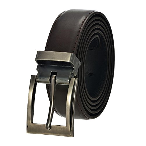 [Faux Leather Belt with Nickel Buckle - Dark Brown 60