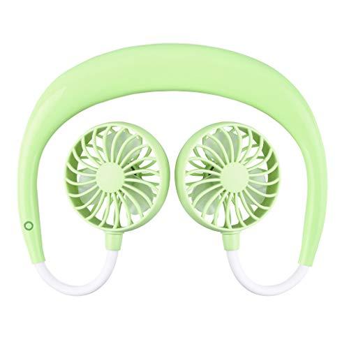 (Elevin(TM)  Outdoor Sports Fan Mini Silent Hanging Neck Lazy Wearable Fan (Green))