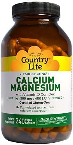 Country Life Target-Mins - Calcium Magnesium with Vitamin D-Complex - 240 Vegetarian Capsules