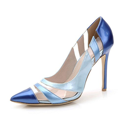 Doris Fashion TS889-57 Women's Evening Pumps High Heel Platform Bud Silk Net Splicing Leather Wedding Bridal Shoes Blue 7 B(M) US