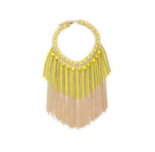 Weave Choker - Meriling Chain Fringe Necklace Weave Choker Beads Statement