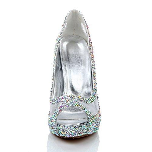 Glitter Toe amp; L YC Dressy High Damen White anpassbare Schuhe Heel A Kristall Heel Transparent 12cm Evening IwvCwfq