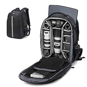 Best Epic Trends 413Urmk1T9L._SS300_ Abonnyc Camera Backpack Fit 2 Pro-Sized DSLR/SLR Camera Bag, 3-6 Lenses, 15.6 inch Laptop for Outdoor Travel with Rain…