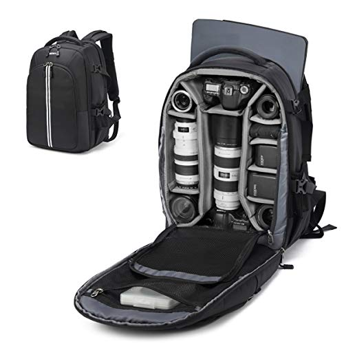 3 Large Slr Camera Bag - Abonnyc Camera Backpack Fit 2 Pro-Sized DSLR/SLR Camera Bag, 3-6 Lenses, 15.6 inch Laptop for Outdoor Travel with Rain Cover, Black