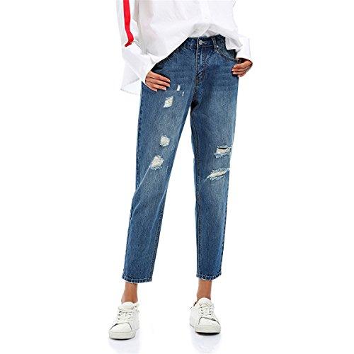 Buco Pantaloni Matita Jeans Casual Strappato Vita Autunno Bassa A Profitd Donna Jean Inverno Tasche Con Da EWavqCwwFx
