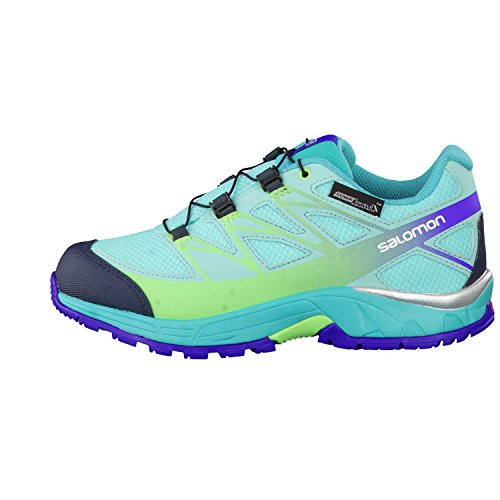 Salomon L39055400, Zapatillas de Trail Running para Niños Azul (Bubble Blue /             Teal Blue F /             Fresh Green)