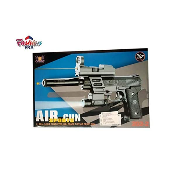 Fashion Era Water Bullets Pistol with Silencer, red Laser Light Toy Gun