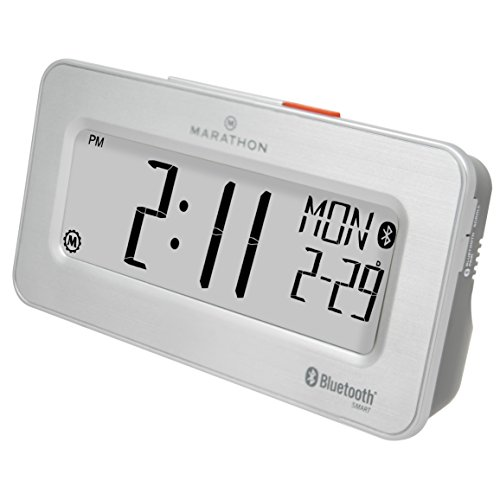 MARATHON CL800002SH Atomic Bluetooth Alarm Clock System - Brushed Steel - Batteries Included