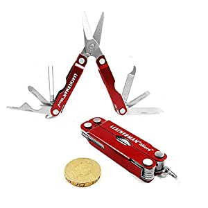 LeatherMan Micra KeyChain Multi Function Tool Pocket Knife Red