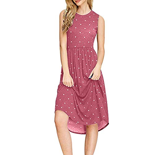 TUSANG Women Skirts Summer Pleated Polka Dot Pocket Loose Swing Casual Midi Dress Loose Flowy Comfy Dress(Red,US-4/CN-S) ()