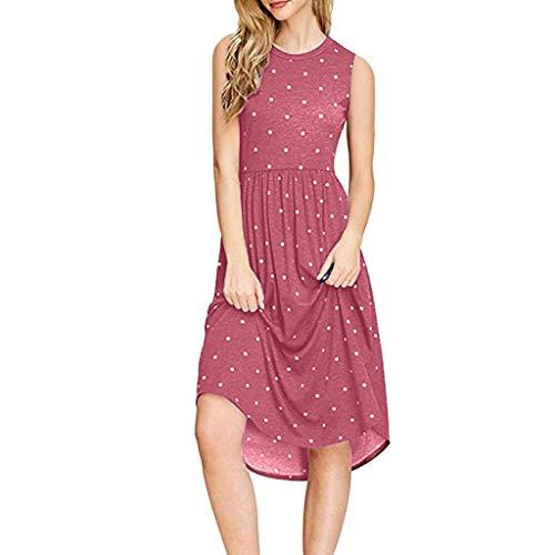 TUSANG Women Skirts Summer Pleated Polka Dot Pocket Loose Swing Casual Midi Dress Loose Flowy Comfy Dress(Red,US-6/CN-M)