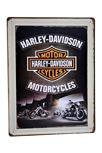 H&K Harley Davidson Motorcycle Retro Metal Tin Sign Posters Wall Decor 12X16-Inch ()