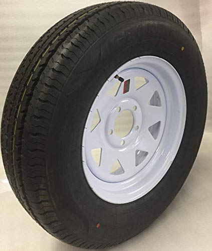 14″ White Spoke Trailer Wheel with Radial ST205/75R14 8 PLY Tire Mounted (5×4.5) bolt circle