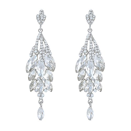 (EVER FAITH Bridal Silver-Tone Teardrop Cluster Chandelier Earrings Clear Austrian Crystal)