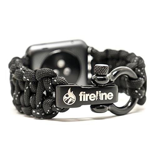 FIRELINE Apple Watch Band 42mm Replacement Paracord Watch Band with Rugged Outdoor Survival Stainless Steel Shackle and Black Reflective 550 Paracord - Series 1, 2, 3 and Sport (Large)