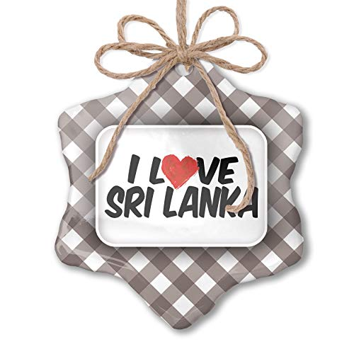 NEONBLOND Christmas Ornament I Love Sri Lanka Grey White Black Plaid