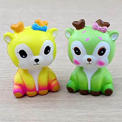 Elaco Cute Slow Rising Deer Toy Kawaii Animal Squishies Squishy Toys Stress Reliever Doll for Kids Children Adults (Yellow): Arts, Crafts & Sewing