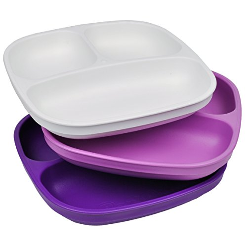 Re-Play Made in USA 3pk Divided Plates with Deep Sides for Easy Baby, Toddler, Child Feeding = White, Purple, Amethyst (Violet)