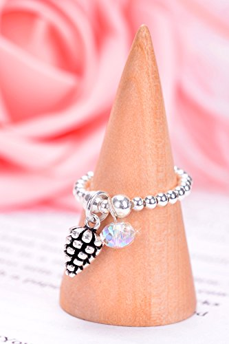 korea s925 silver pine cones austrian crystal necklace pendant silver ring women girls ring gifted -