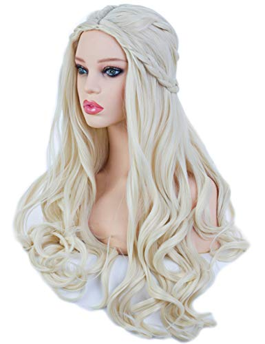 Angelaicos Women's Long Wavy Blonde Wig Halloween Costume Cosplay Party Braids -