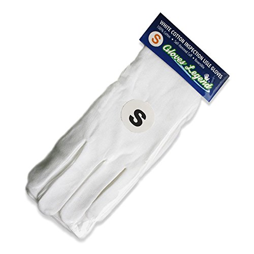 Size Small - 6 Pairs (12 Gloves) Gloves Legend White Coin Jewelry Silver Inspection Cotton Lisle Gloves - Medium Weight