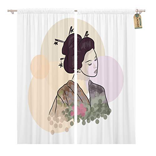 Golee Window Curtain Colorful Beauty Geisha Beautiful Japanese Girl Asia Asian China Home Decor Rod Pocket Drapes 2 Panels Curtain 104 x 63 -